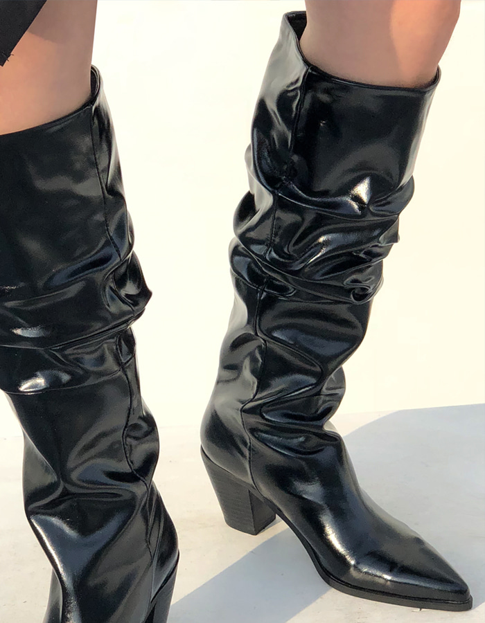 SHIRRING LONG BOOTS (2 COLOR)