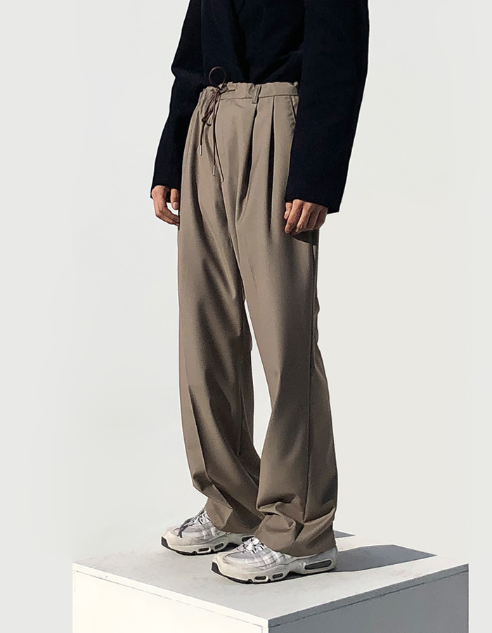 UNISEX PIN TUCK BANDING PANTS (2 COLOR)