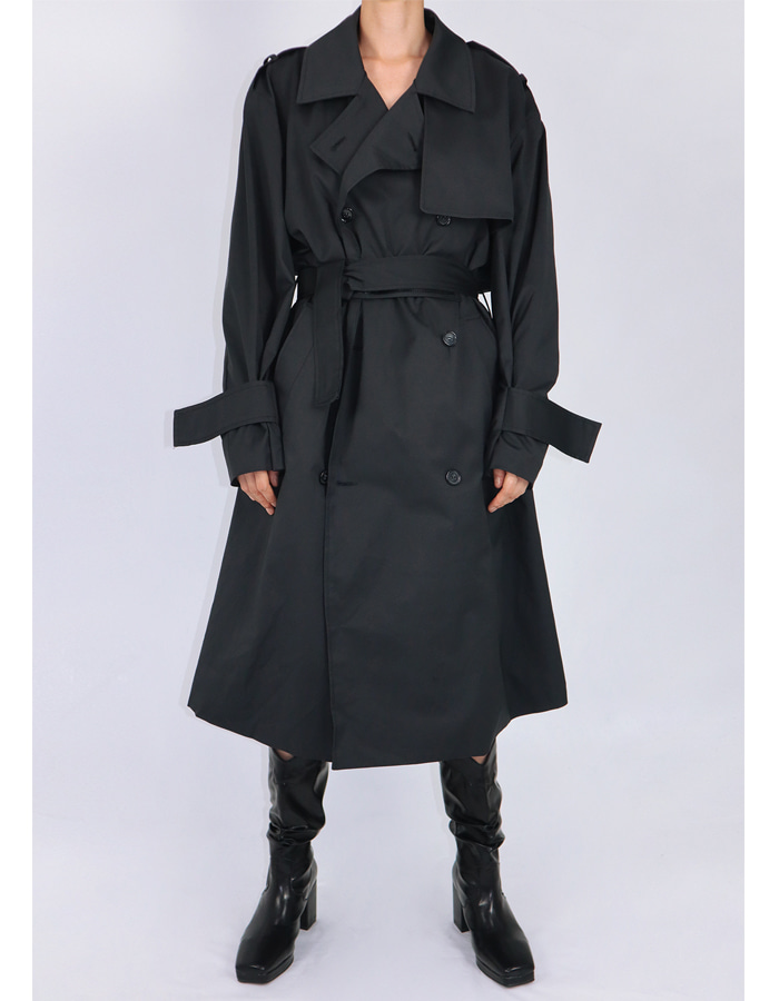 UNISEX VELCRO TRENCH COAT (BLACK)
