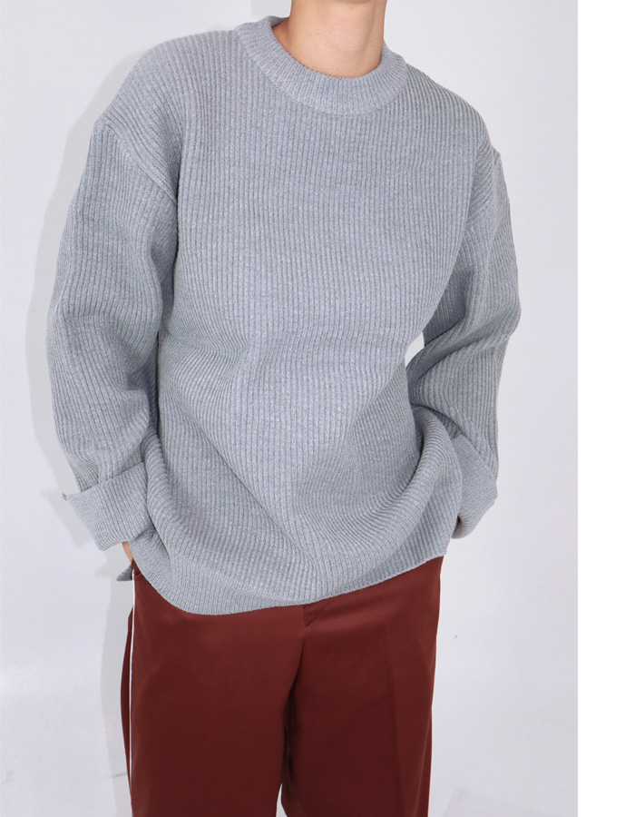 UNISEX HEAVY OVERFIT ROUND KNIT (3 COLOR)