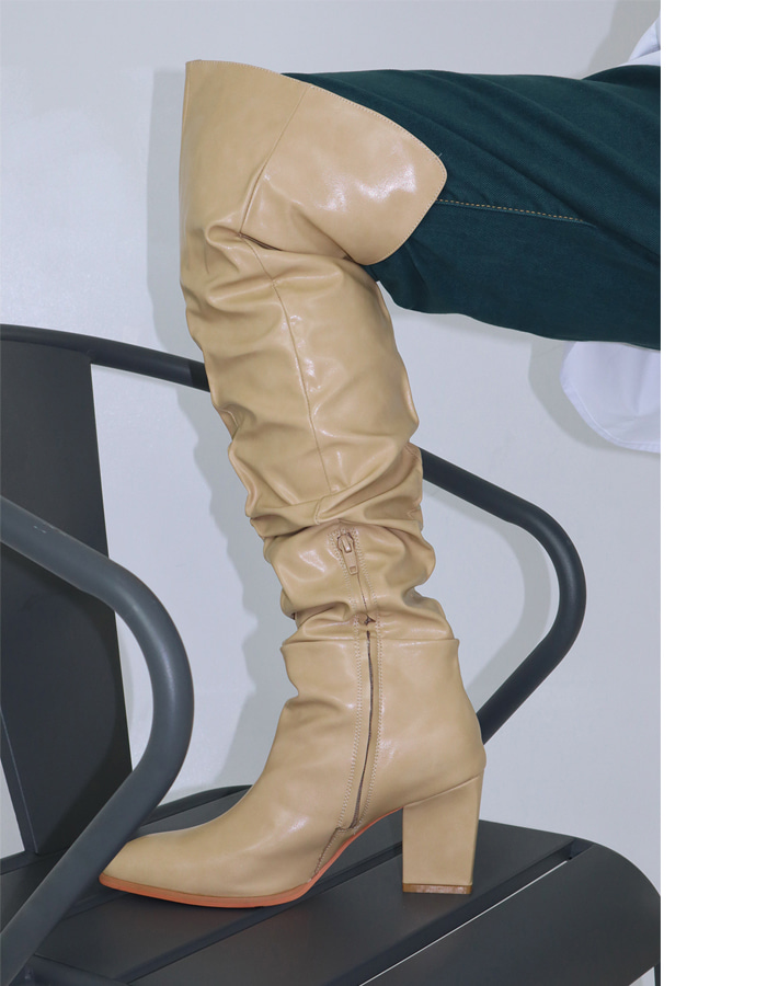 SHIRRING THIGH-HIGH BOOTS (3 COLOR)
