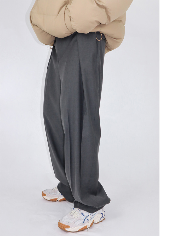 UNISEX BUTTON PIN TUCK SLACKS (2 COLOR)