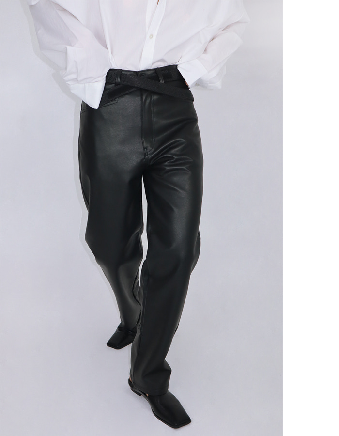 Unisex straight leather pants