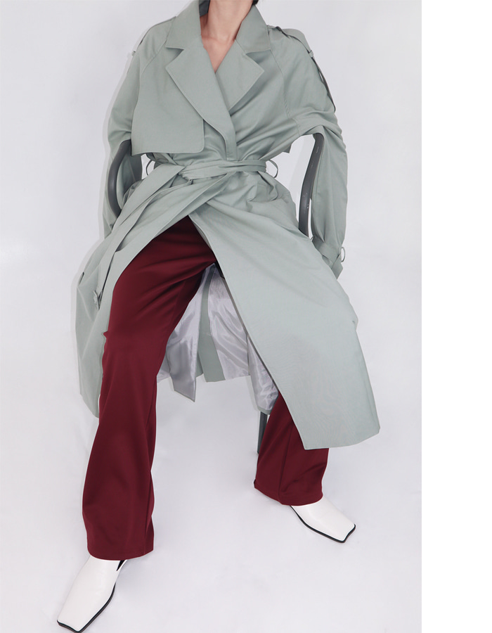 Unisex snap button maxi trench coat (3 color)