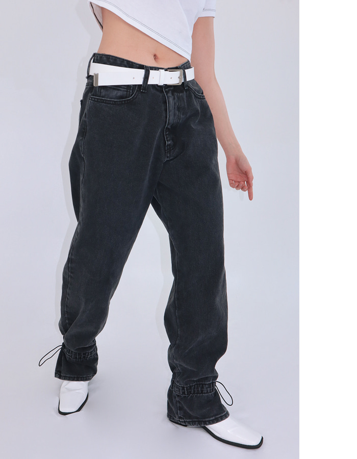 Unisex ankle string denim pants (Black)