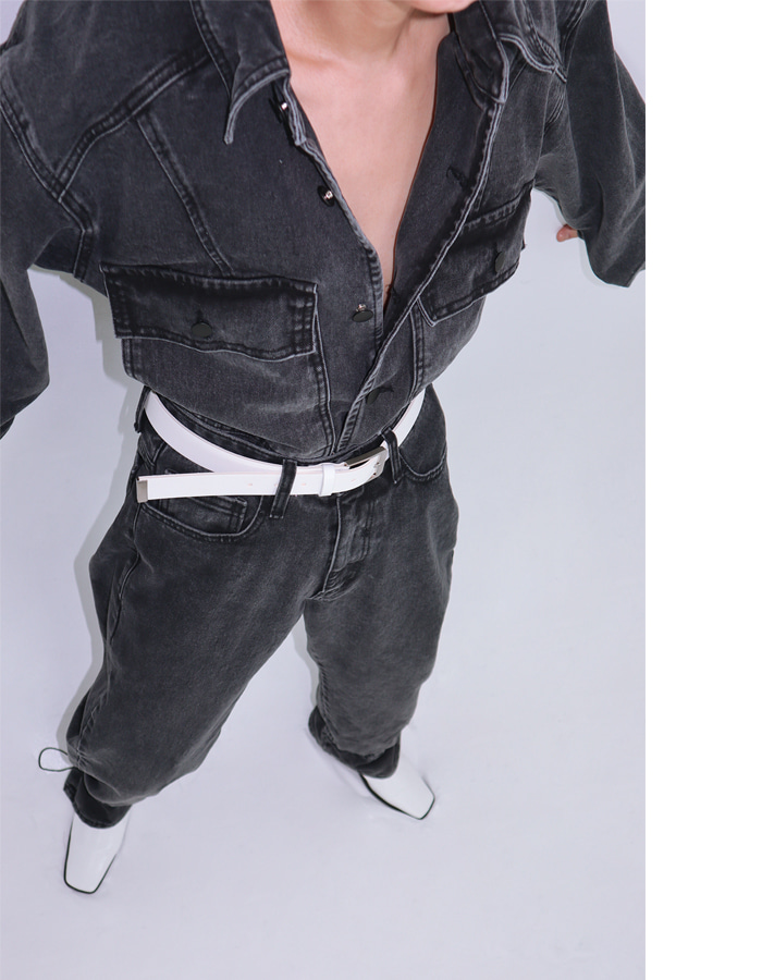 Unisex denim jacket + Ankle string denim pants set up (Black)