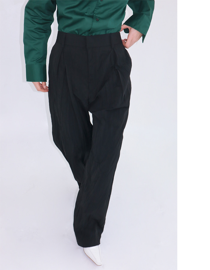 Unisex wrinkle pin tuck pants (2 color)