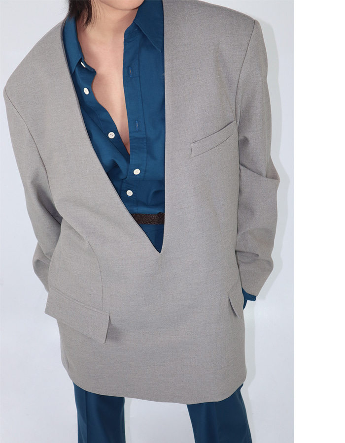 Unisex Deep V Neck Jacket (2 Color)