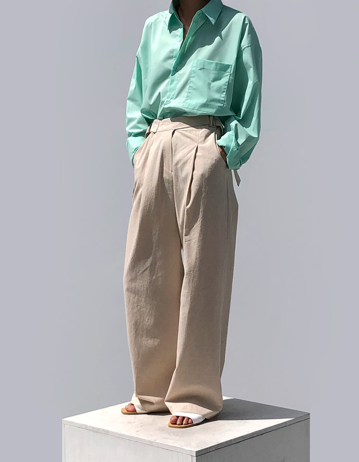 SIDE BUCKLE LINEN PANTS (2 COLOR)