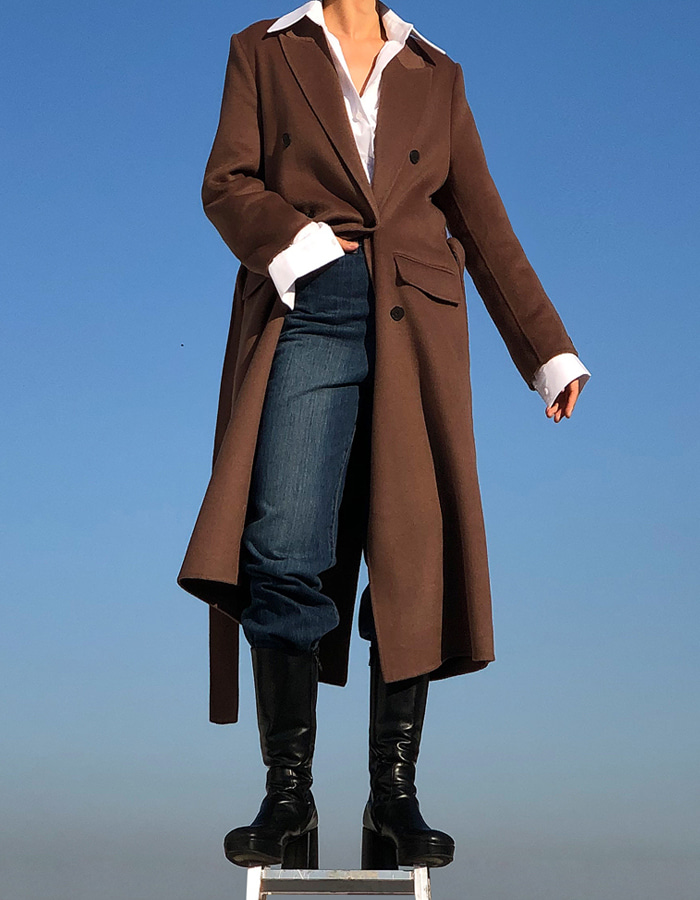 HAND MADE DOUBLE COAT (BROWN)