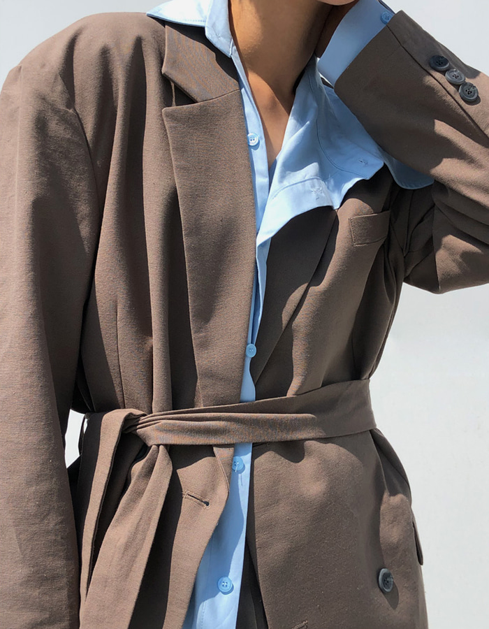 UNISEX LINEN STRAP JACKET (3 COLOR)