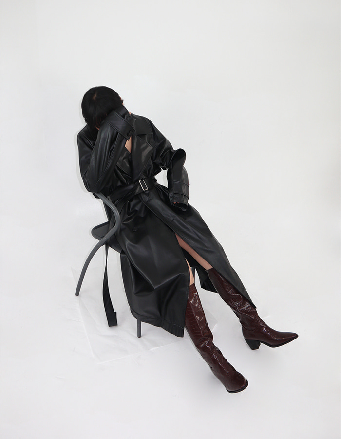 UNISEX VEGAN LEATHER TRENCH COAT