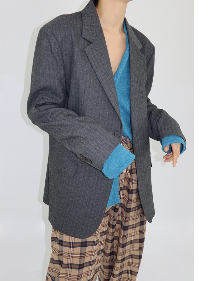 UNISEX STRIPE SINGLE-BREASTED BLAZER (2 COLOR)