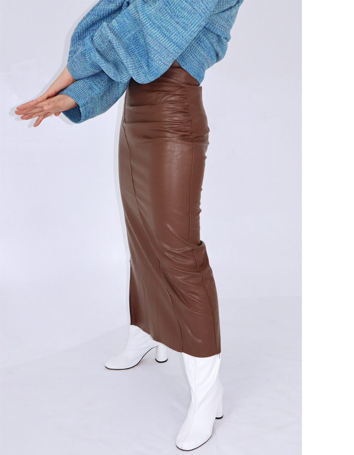 SHIRRING LEATHER LONG SKIRT (2 COLOR)