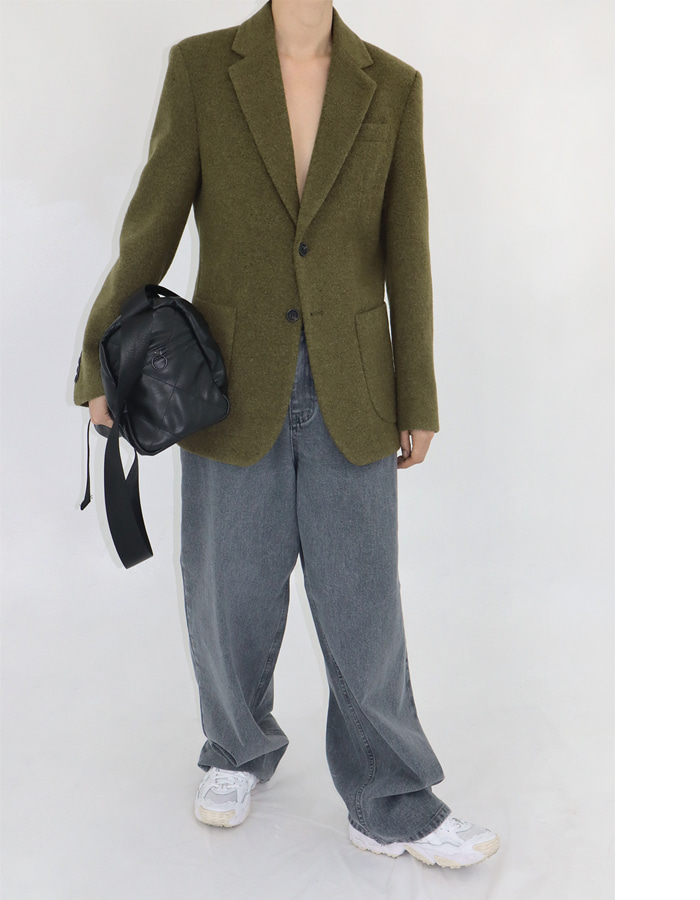 Unisex Bouclé Wool Single Jacket (Olive)