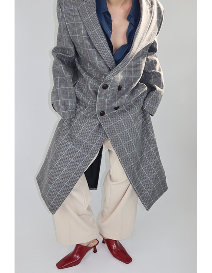 Unisex check double coat (2 color)