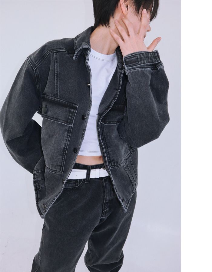 Unisex denim jacket (Black)
