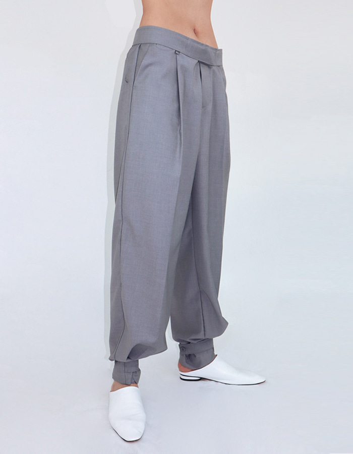 Unisex Waist/Hem Strap Detail Slacks (3 Color)