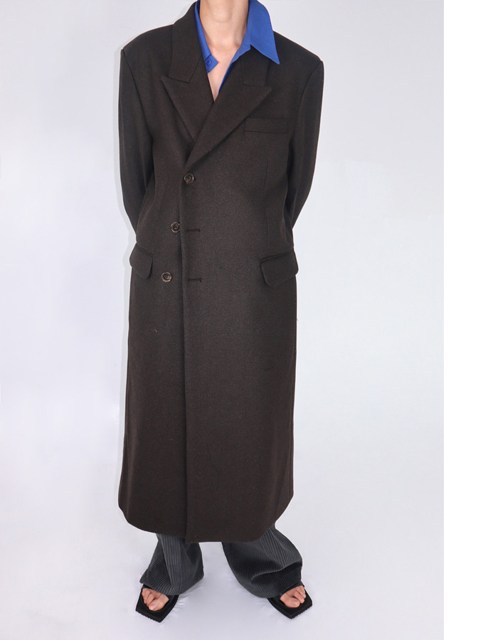 Unisex 3 button double wool coat (2 color)