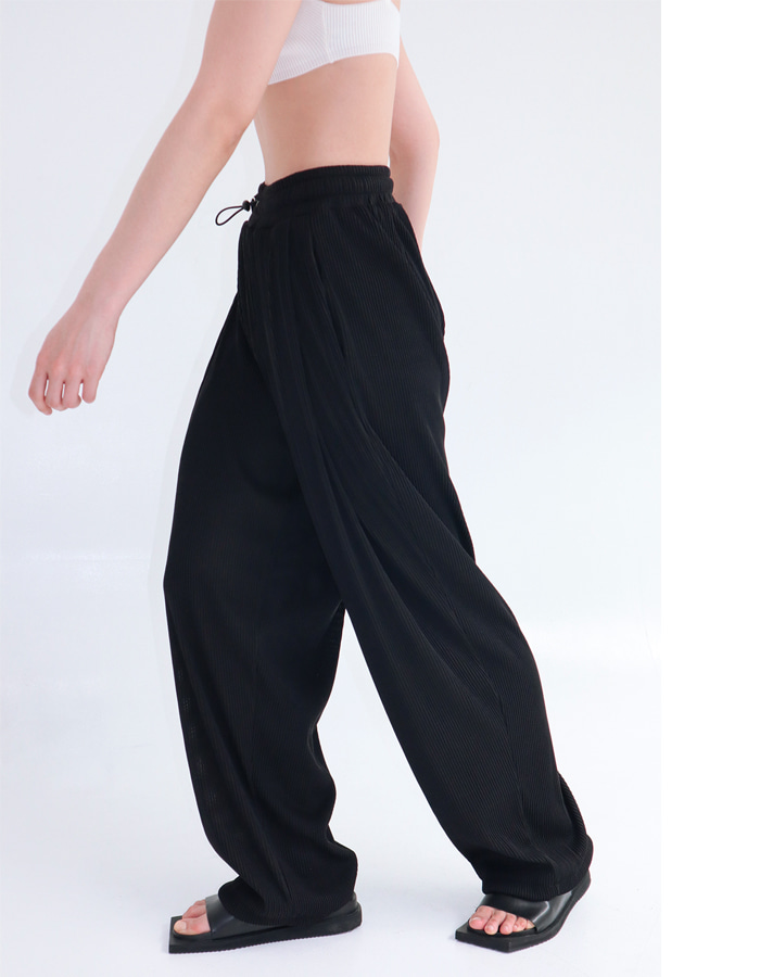 Unisex Pleats Banding Pin Tuck Pants (Black)