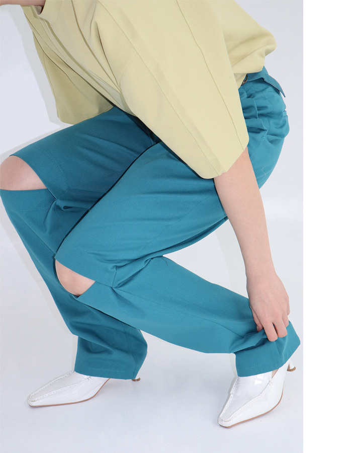 Unisex Knee Slit Pants (2 Color)